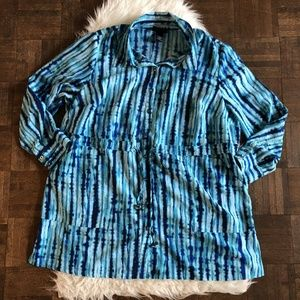 Maggie Barnes 1X Blue Patterned Long Sleeve Tunic